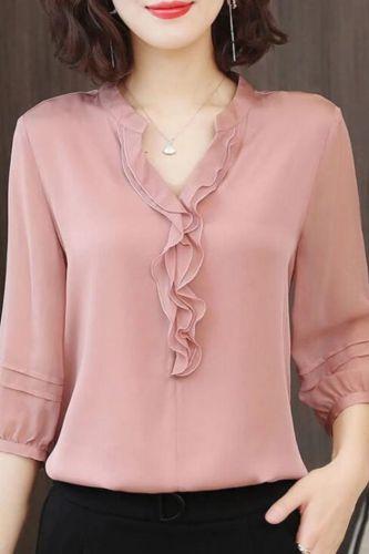 Women Spring Summer Style Chiffon Blouses Shirts Lady Casual Half Lantern Sleeve V-Neck Ruffles Decor Blusas Tops DF3732