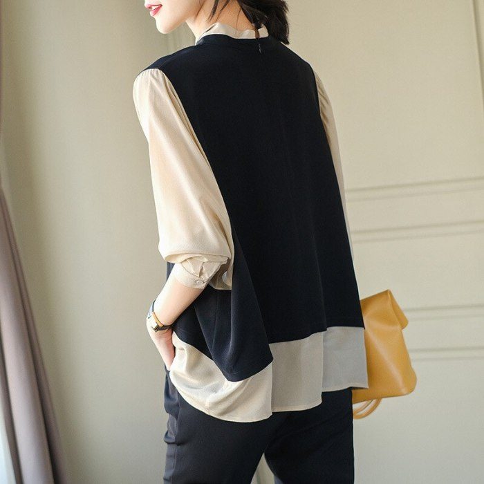 Chiffon shirt women's 2021 spring color matching fake two loose large size fashionable foreign style design fashion
