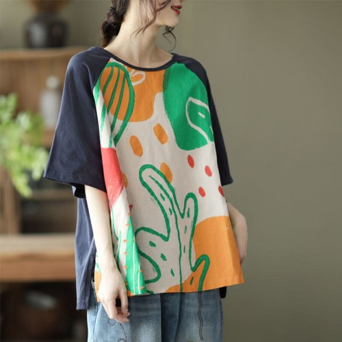 Vintage Printed Women T-Shirts Summer New 2021 Oversized 4XL O-Neck Loose Short-Sleeved Patchwork Female Pulls Tops Tees