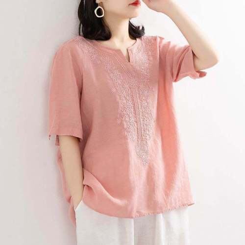 New Cotton Linen shirt Women Vintage Embroidered Short Sleeve Loose Casual femine Blouse Plus Size Simple Chic Tops 2021