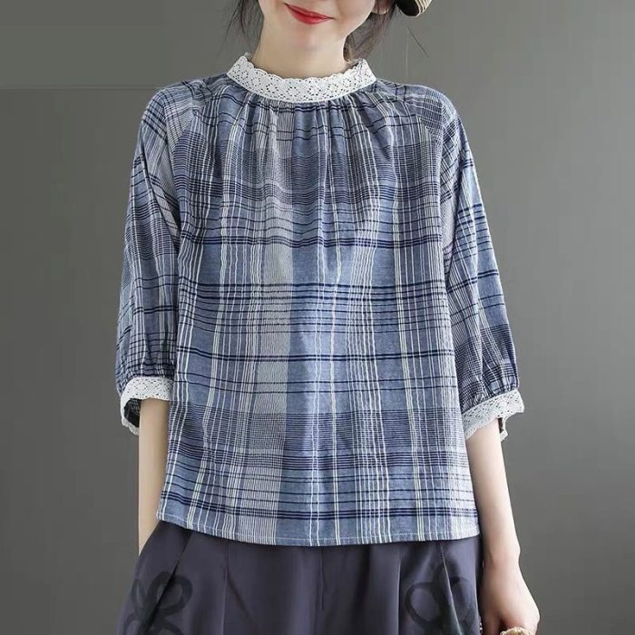 Summer New Arts Style Women Half Sleeve Loose T-shirt cotton linen Plaid Vintage Tee Shirt Lace stand collar Femme Tops S795
