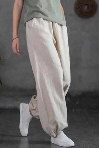 2021 Summer Cotton Linen Tie Feet Harem Pants for Women Vintage Elastic Waist Loose Pants Ankle-length Green Trousers Female