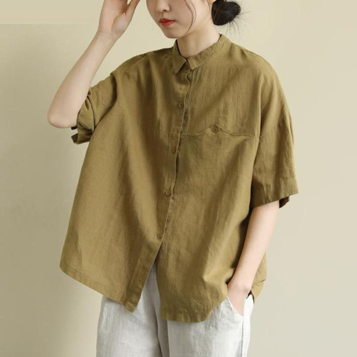 New Arrival Summer Arts Style Women Short Sleeve Vintage Cotton Linen Shirt Loose Casual Turn-down Collar Blouses Plus Size S935