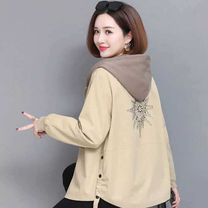 Vintage Loose Short Hooded Jackets Women Fashion 2021 Fashion Casual Printing Coat female Korean style Autumn outwear tops