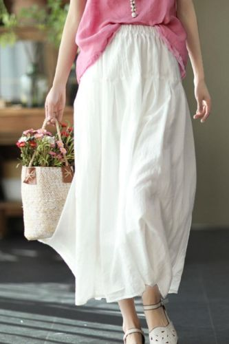 Women Cotton Linen Solid Color Vintage Skirts Elastic Waist Patchwork 2021 Summer New Sweet Casual Korean Style Skirts