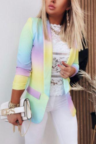 Tie Dye Blazer Women 2021 Casual Slim Jacket Female Blazer for Women Autumn Long Sleeve Women Blazers and Jackets Coat Femme