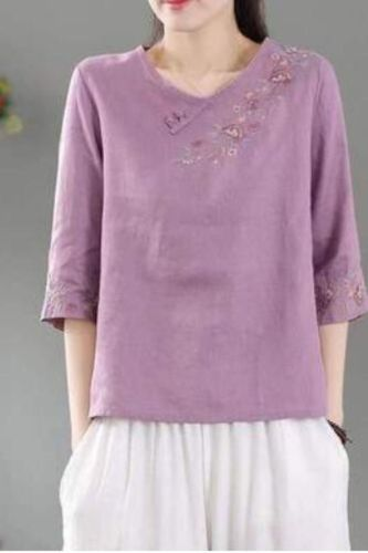 Vintage Embroidery Flowers T-Shirts Women Cotton Linen Thin O-Neck Collar Half Sleeve Loose Indie Folk Tees Tops Summer Female