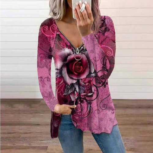 Summer Women T Shirts Rose Printed Zipper V Neck Long Sleeve Loose Pullover Tees Casual Lady Tops Fashion Blouse Plus Size