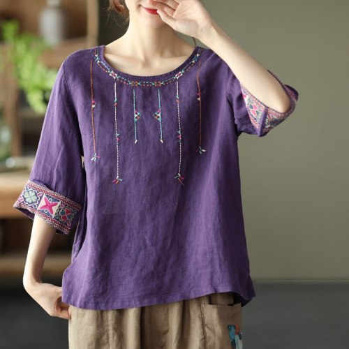 2021 Summer New National Style T Shirts Embroidered Linen Tops Women's Loose Sleeve T-shirt O Neck Solid Color Soft Thin Tees