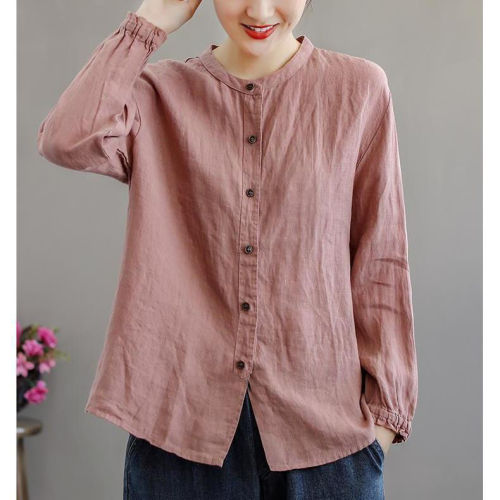 2021 New Fashion Women Autumn Long Sleeve Button Up Shirt Office Ladies Cotton Casual Solid Color Loose Chic Blouse Tops Q552