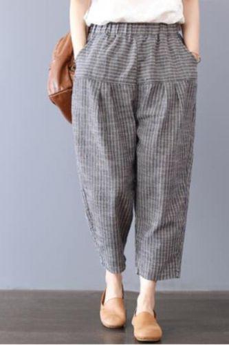 2021 Summer New Arts Style Women Elastic Waist Loose Striped Ankle-length Pants Cotton Linen Casual Harem Pants Plus Size S736