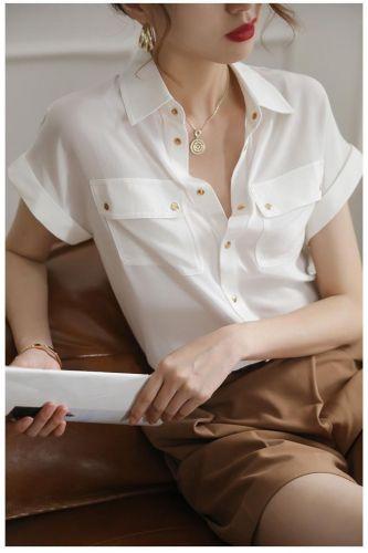 Ladies silk shirt  retro professional green shirt women summer short-sleeved big mulberry silk shirt  women tops
