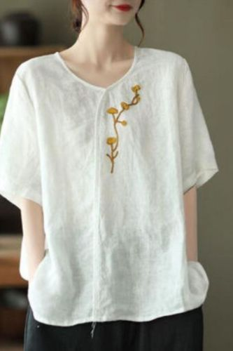 Women Embroidered Flowers Linen T-shirts Vintage O-Neck Short Sleeve Loose Casual Tees 2021 New Summer Simple T-shirt