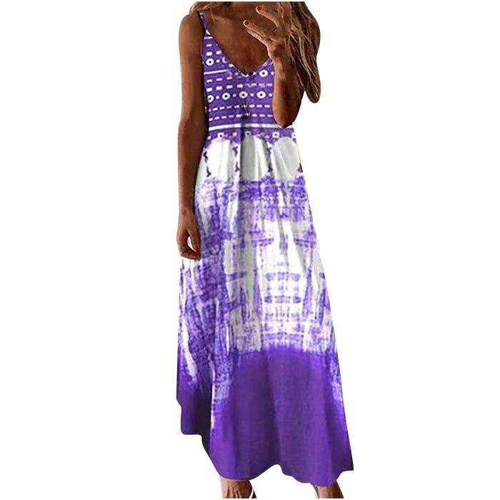 New plus size dress Women Summer V-neck Casual Printing maxi dresses ladies oversize Loose Sleeveless Long Dress vestidos mujer
