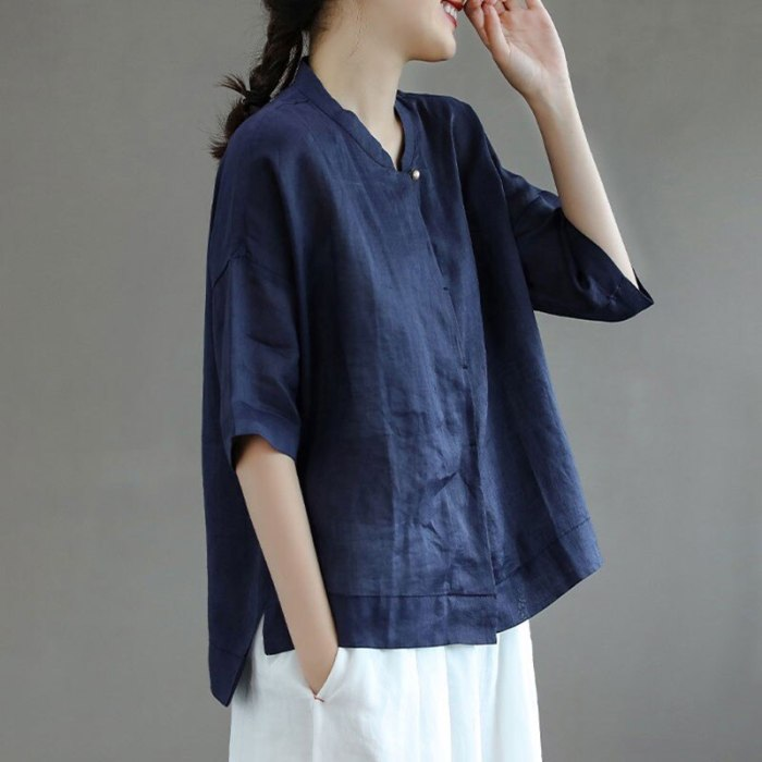 Oversized Women Cotton Casual Shirts New Arrival 2021 Summer Vintage Style Stand Collar Loose Female Short Sleeve Tops S3854