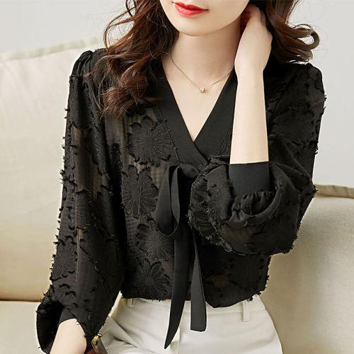 Women Blouse Lantern Sleeve Chiffon Shirt Women's Bow Chiffon Shirt Loose Blusas Ropa De Mujer