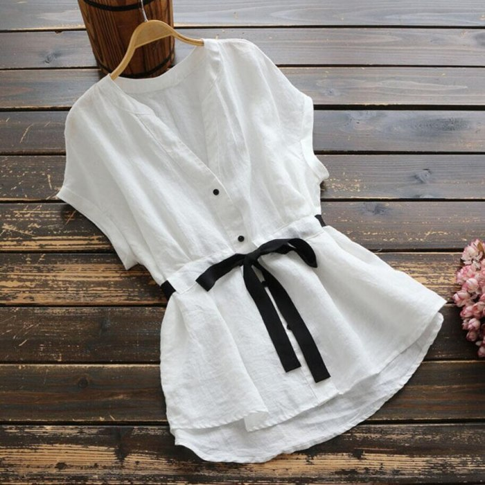 Pure Cotton Shirts 2021 New Summer Women's Blouses Korean Casual Loose Tie Waist V-neck Short-sleeve Top Bottoming Shirt White