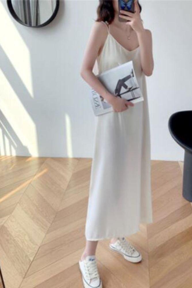 Blackless Sling Dress Women 2021 Summer Solid Chiffon Plus Size Dress Female Split Long Midi White Party Dresses Vestidos 13347