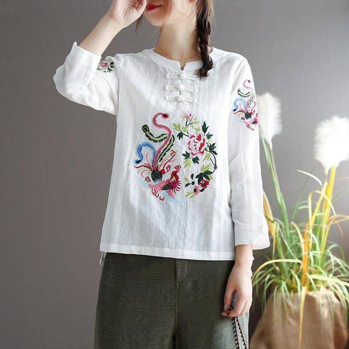 Blouse Women Plus size Cotton Linen Shirts Ladies Tops Casual Chinese Phoenix Vintage Embroidery Long sleeve