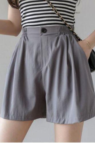 High Quality High Waist Shorts Casual Summer 2020 Women Shorts Korean Elastic Waist Sexy Mini Short Cotton And Linen