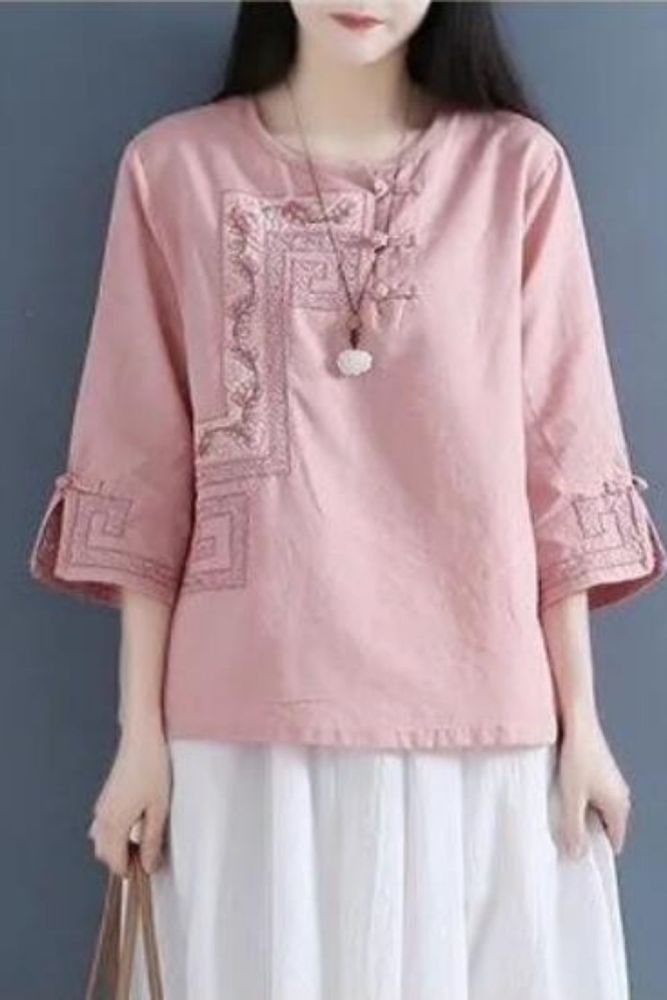Spring and Summer Retro Buttoned Linen Cotton and Linen Crew Neck Embroidered Shirt