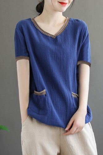 2021 New Autumn Spring 100% Cotton V Neck Woman long sleeve t-shirts Fashion Korean Style Solid Oversized t shirt