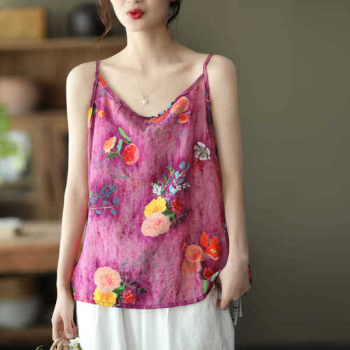 Breathable and comfortable all-match bottoming shirt sleeveless printed top women P3 1173