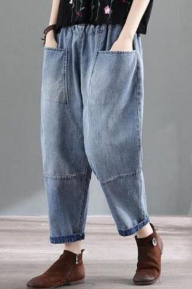 Women's High Waist Jeans Vintage Large Pockets Harem Pants Female Ankle-Length Pants Loose Oversized Women Denim Pants