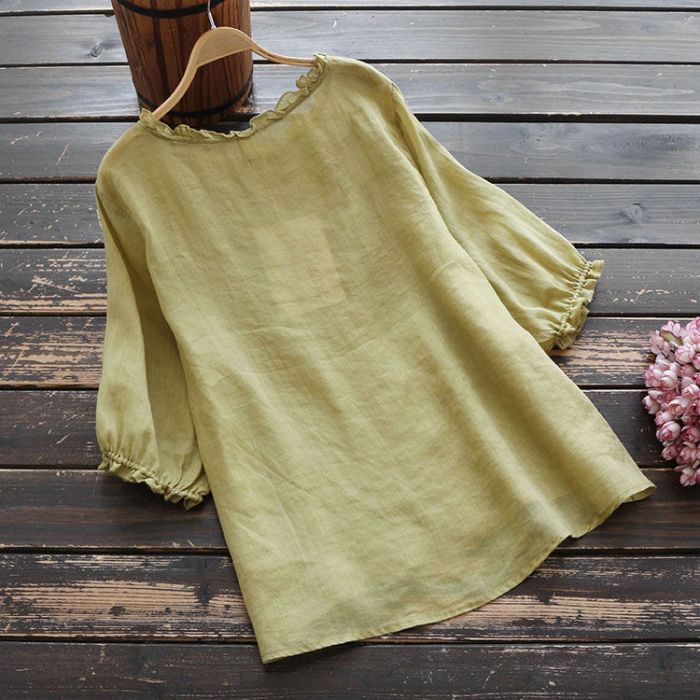 Blouse Women Plus size Ruffle Cotton Ladies Embroidered Top Blouse Summer shirts Puff sleeve Casual