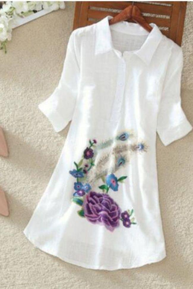 White Long Shirt Women Office Blouse Plus size Cotton Linen Vintage Embroidery Short sleeve Ladies Summer Tops Casual 4XL 5XL