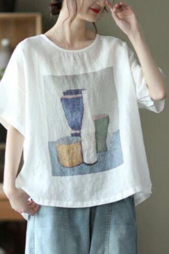 Women Pullovers T-Shirt Cotton Linen Summer Breathable Thin Literary Printing Casual Loose Short Sleeved Office Ladies Tops Tees
