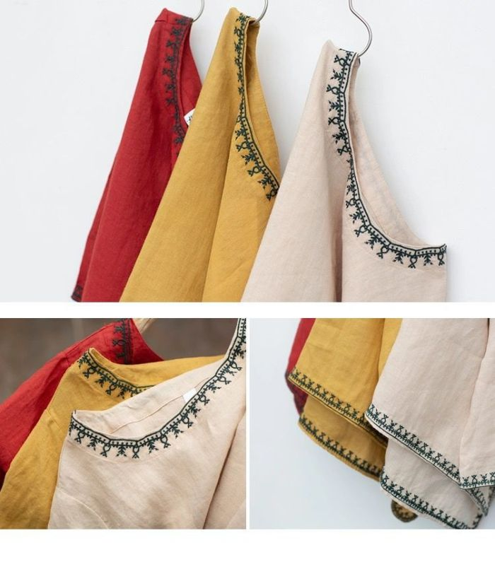 Vintage 70s Mexican Ethnic Flower Embroidery Boho Hippie Women Clothing Casual Loose T-shirt Tops Blusas Femininas 3 Colors