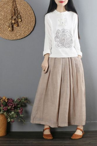 2021 Plus size Blouse Women White Blouse  Ethnic Embroidery Cotton Blouse Oversize Long Sleeve Ladies Casual Top