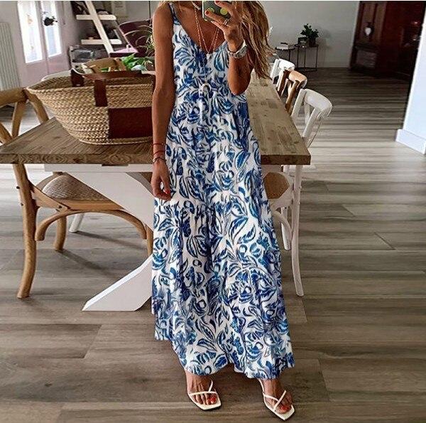 Plus Size Women Maxi Dress Casual Summer 2021 Sleeveless V-neck Printed Long Dress Backless Ladies Clothing Dresses Vestidos