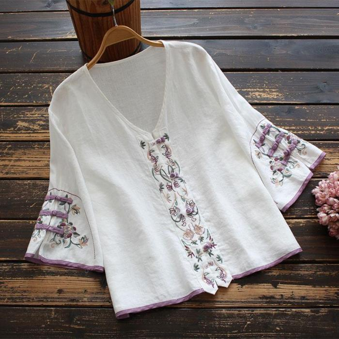 Summer Chinese Style Clothing Women Clothes 2021 Cheongsam Top Chinese Traditional Shirt Blouse Cotton Linen  Hanfu Ladies