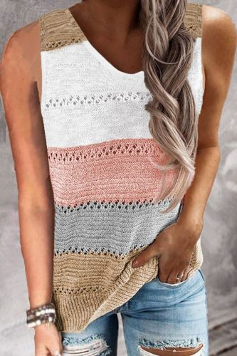 Sexy V-neck Sleeveless Women Blouse Shirt 2021 Summer Stripe Patchwork Knitted Vest Tops Spring Loose Blusa Pullover Streetwear