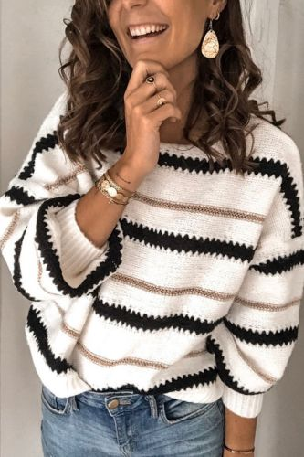 Autumn and winter new style women's patchwork striped knitwear pullover long sleeves loose sweater women's wear
