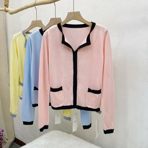 Thin Knitted Cardigan Sweater Women Full Sleeve Single Breasted Pockets Tops Elegant Soft Fashion Ladies Jumpers Femme 2021