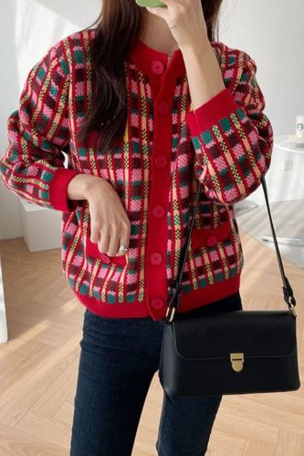 Retro red plaid knitted cardigan women's spring and autumn new loose-fitting outer sweater coat lazy wind cropped top