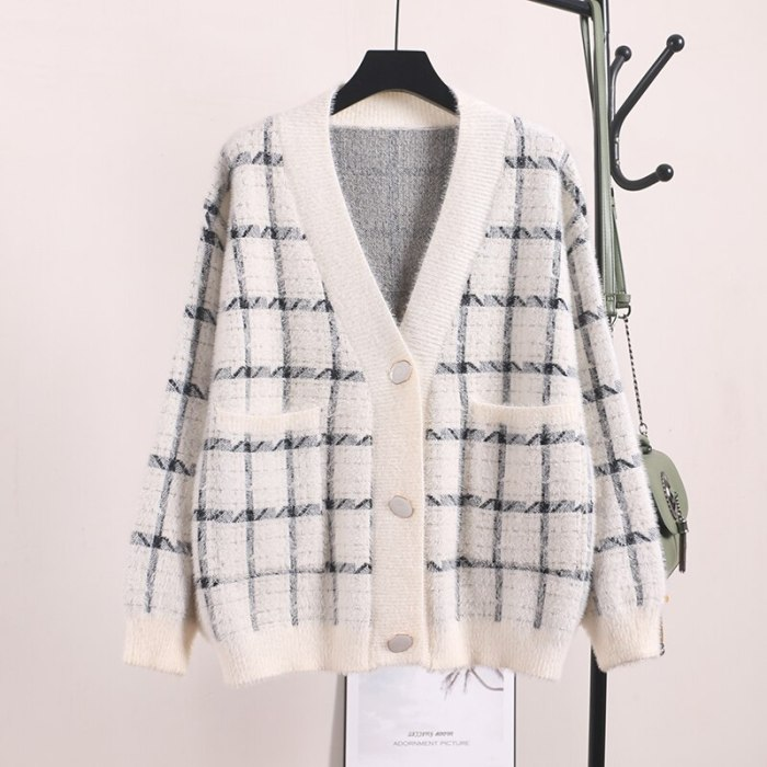Women Winter Sweater and Cardigans V neck Plaid Button Up Knit Cardigans Pink Sweater Coat Faux Fur jacket Korean Coat