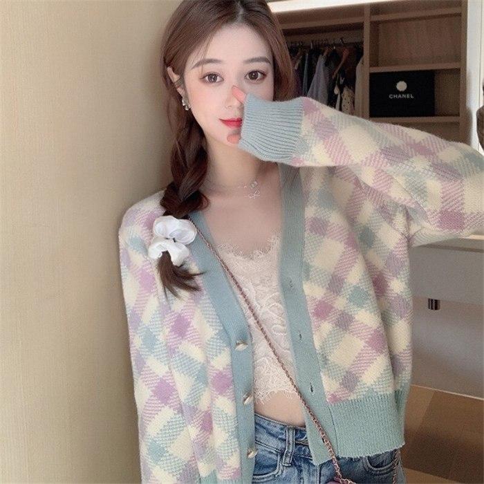 Short Color Matching Diamond Knit Women's Spring Inverno Feminino 2021 New Small Fresh V-neck Sweater Cardigan Jacket Inverno