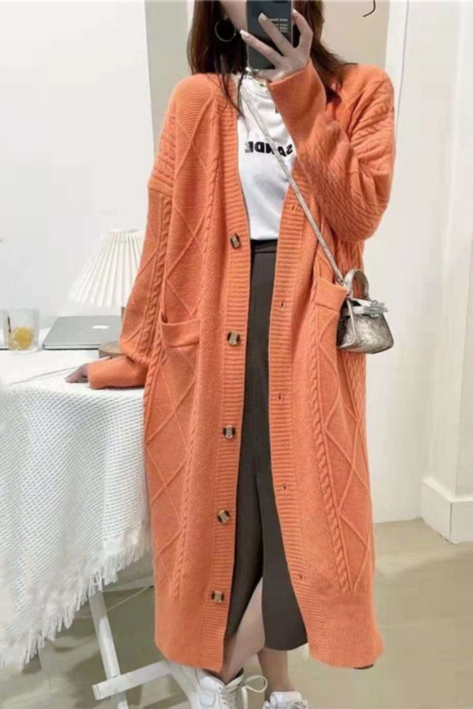 Sweater women 2021 autumn and winter new coat mid-length knitted cardigan top loose twist V-neck women's coat knitted cardigan