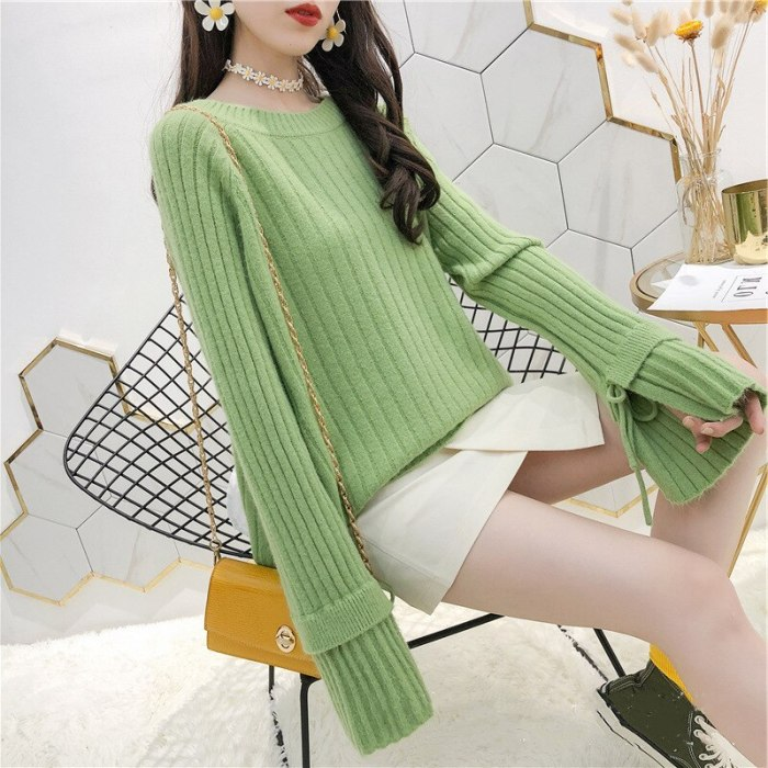 Fashion O Neck Flare Long Sleeve Knitted Women Tops Solid Fresh Loose Design Sweater Autumn Winter Tide All Match Pullover
