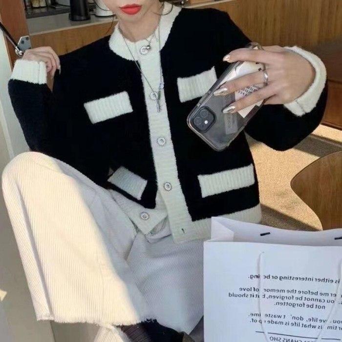 2021 Korean Sweater Autumn Women Casual Knit Cardigan Elegant Loose Outwear Color Contrast Long Sleeve Button Office Short Coat