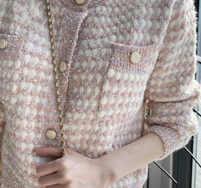 2021 Autumn Long Sleeve Panelled Patchwork Sweater Women Short O-neck Coat Pockets Knitted Cardigan England Style Retro Tops