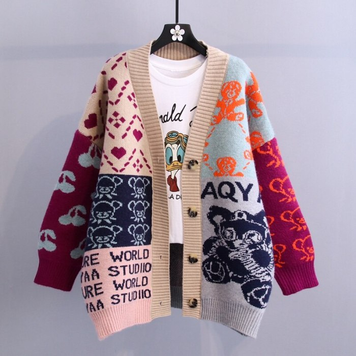 Oversized Long Cardigan Women 2021 Autumn Winter Cartoon Print Long Sleeve Knit Sweater Cardigan Female Streetwear Coat