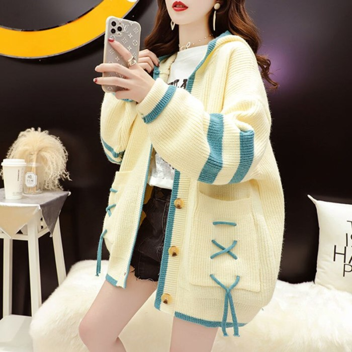 Knitted hooded jacket women 2021 new spring and autumn sweater cardigan Korean casual all-match Western style