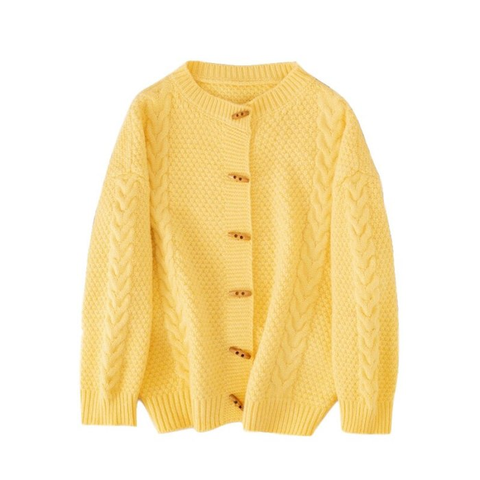 Women's Long Sleeve Top 2021 Spring and Autumn New Twist Knit Cardigan Round Neck Top Loose Wild Horn Button Sweater Jacket
