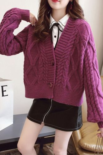 Women 2021 Autumn Winter Knit Cardigan Short Crop Tops Female Chic Casual Loose Solid Color Single-Breasted Sweater Coat S951