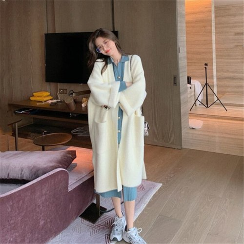 Autumn Winter New Loose Midi Knitted Coat Korean Stylish V-Neck Office Lady Cardigan With Big Pocket Fashion Ladies Outerwear